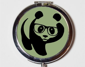 Panda Nerd Compact Mirror - Anthropomorphic Animal with Eyeglasses Pop Art Hipster - Make Up Pocket Mirror for Cosmetics