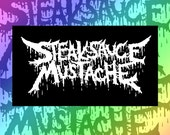 Steaksauce Mustache Black Metal Logo Canvas Patch in Black