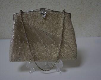 Beaded silver wedding purse, 1970s vintage Japanese,  evening handbag.