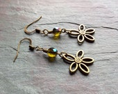 "Czech Glass Earrings / One-of-a-Kind / Antique Brass Flower / Drop / Dangle / Gold and Blue Beads - 2"" long - E24"