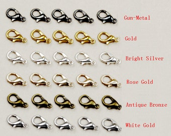 High quality 100pcs lobster clasps, claps, Antique Bronze,Bright Silver,White Gold,Gold,Rose Gold,Gun-Metal