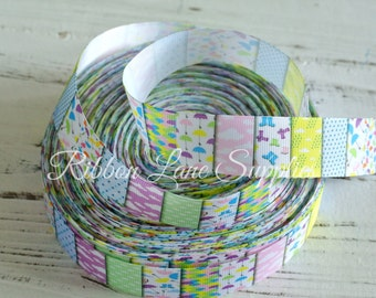 """1"""" Ribbon by the Yard-Pastel ribbon-Clouds, Umbrellas and Rain boots-Bloack grosgrain-by Ribbon Lane Supplies on Etsy"""
