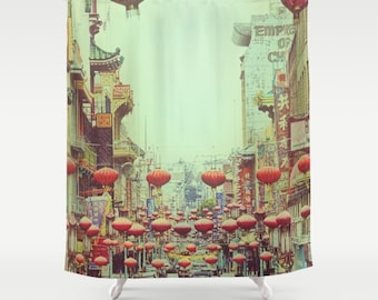 Extra Long Shower Curtain | Chinese Red Lanterns | Custom Shower Curtain | Chinatown San Francisco | Bathroom Accessories | Bathroom Decor
