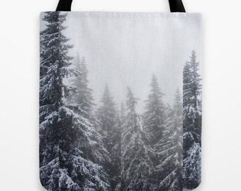 Evergreen Trees, Woodland Print, Photo Printed Tote Bag  Washable Market Tote Vegan Handbag Small Medium & Large Snowy Scene Purse