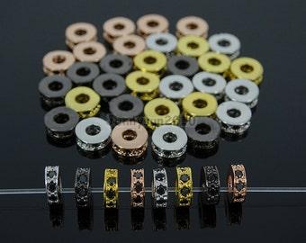Black Zircon Gemstones Pave Rondelle Bracelet Connector Charm Beads Silver Gold Rose