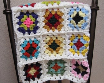 Child Granny Square Lapghan Rainbow Colors Blanket Bright Throw