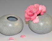 Miniature ceramic vase - set of two, foggy blue pebble-like mini vase/container, ready to ship, gift