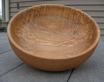 Hand Turned Utility Bowl Made From Curly Spalted Soft Maple
