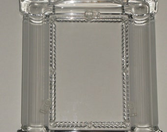 Elegant Pressed Glass Frame Vintage Architecture Self Standing Solid Glass Photo Frame