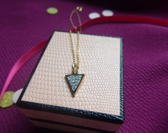 Gold Filled Crystal Triangle Necklace