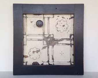 Framed Ceiling Tin Magnet Board Handmade using Reclaimed Wood