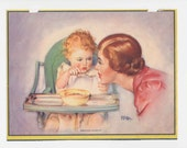 vintage illustration, Mother and baby, baby feeds mom, nursery, baby shower, 1930's