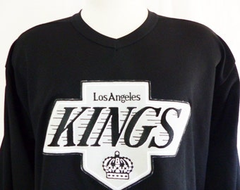 vintage 80's 90's Los Angeles L.A. Kings Ice Hockey NHL black CCM air knit jersey graphic tshirt embroider applique black white grey logo XL