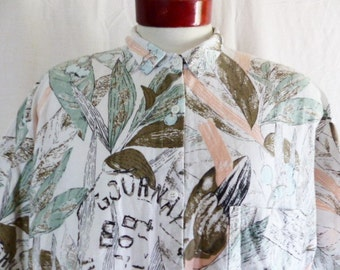vintage 80's Cherokee white women's blouse shirt pastel peach pink blue grey sage green bird olives leaves french label print collar Large