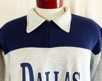 vintage 80's Dallas 22 color block navy blue heather grey half zip contrast collar tourist travel graphic sweatshirt fleece pullover jumper