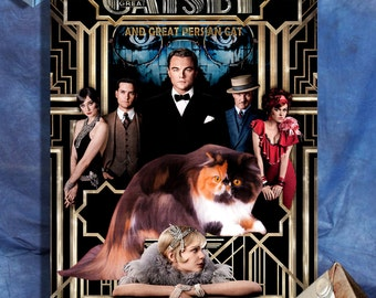 Persian Cat Fine Art Canvas Print - The Great Gatsby Movie Poster NEW COLLECTION