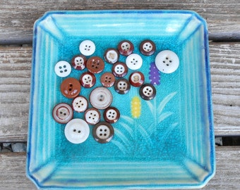 Antique Brown Buttons - Porcelain China Button Lot - Fish Eye, Ringer Banded, Inkwell