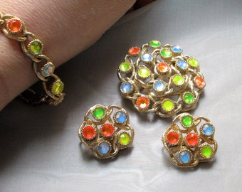 Sarah Coventry Moon Lites Set - NEW Bracelet, Pin, Earrings Parure NOS