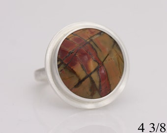 Picasso jasper, sterling silver and Picasso jasper ring, size 4 3/8, #700.