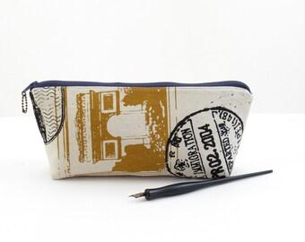 Travel print white zipper pouch, postal print zipper bag, white makeup bag, padded zipper bag, white travel pouch,  travel pencil bag