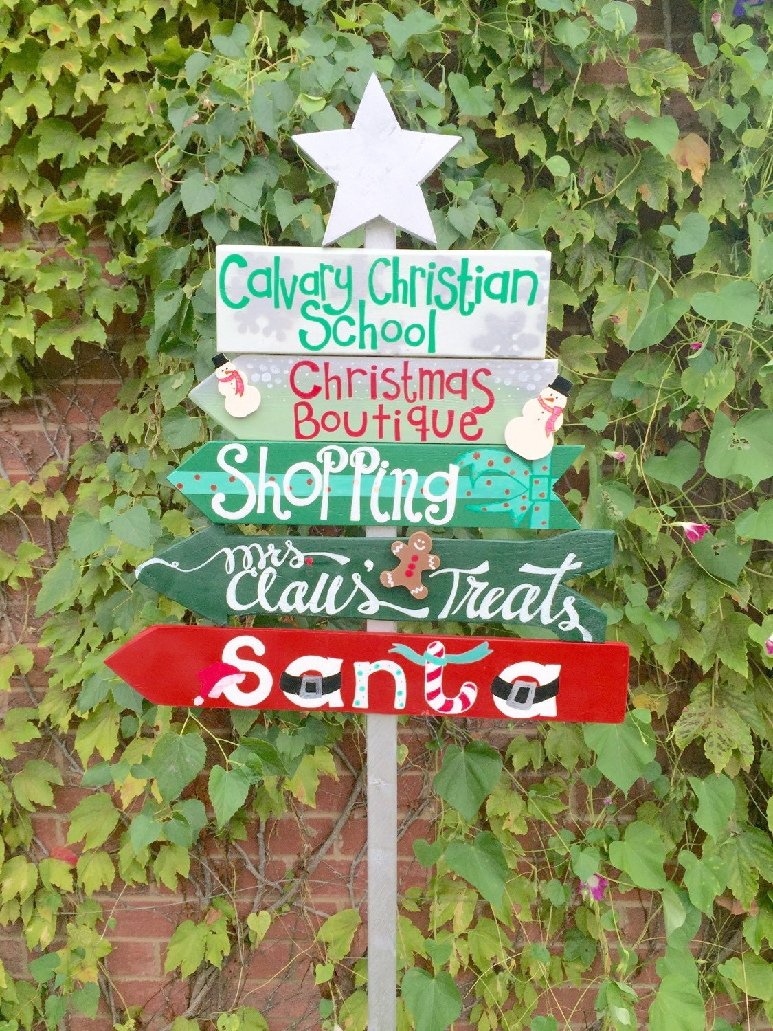 Custom outdoor christmas directional lawn sign for Outdoor christmas signs