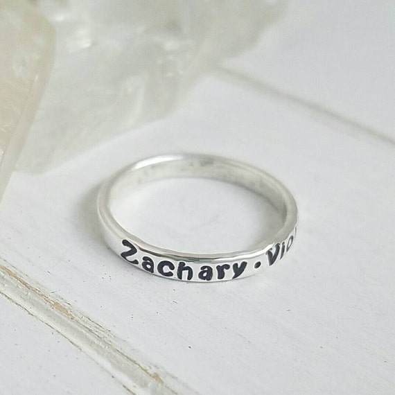 sterling silver name ring 3mm personalized ring