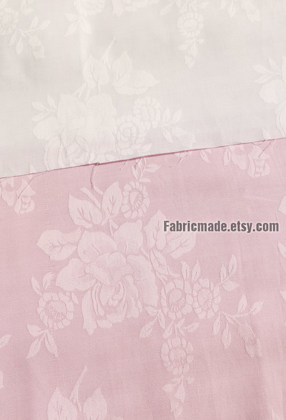 "101""/ 148cm Wide Light Pink White Cotton Fabric, Jacquard Flower Cotton, - 1/2 Yard"