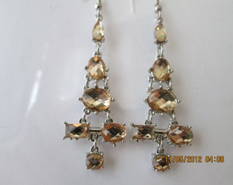 Silver Tone Layered Earrings with Pail Pink Crystal Bead Dangles