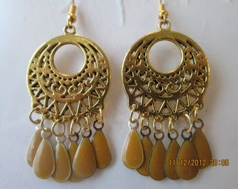 Gold Tone Chandelier Earrings with Gold and Light Brown Teardrop Dangles
