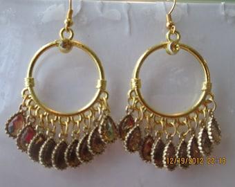 Gold Tone Hoop Earrings with Gold Tone Teardrop Crystal Like Dangles