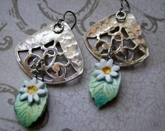 Radiant Bloom, flower earrings, pierced metal earrings, vintage silverplate, daisies, Scorched Earth, textured metal sheet, AnvilArtifacts