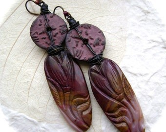 Canyon Walls, carved stone earrings, ooak assemblage earrings, ceramic coins, moakite mookite, aubergine burgundy gold black, AnvilArtifacts