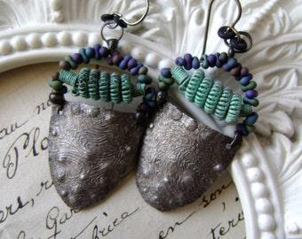 Swirling Waters, textured metal earrings with verdigris patina, mixed metal earrings, assemblage earrings, soldered jewelry, AnvilArtifacts