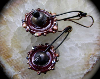 Pinwheels, earrings, organic artisan earring, primitive rustic, bohemian edgy ooak, artisan lampwork beads, soldered jewelry, AnvilArtifacts