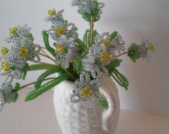 Vintage Beaded Flower Bouquet Forget Me Nots