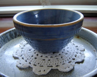 Vintage antique blue stoneware small bowl 5 inch bowl kitchen decor collectible blue crockery French Country farmhouse chic
