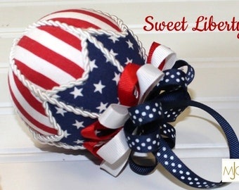 Sweet Liberty Red, White and Blue Patriotic Japanese kimekomi style Ornament