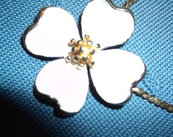 Monet costume jewelry necklace made in the seventies, featuring a single Dogwood blossom