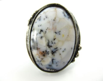 the snow moon - large white dendritic opal ring