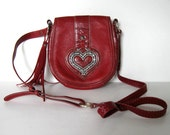 Reserved for illusivecityor, Vintage Red Brighton Purse, metal heart, 90's Leather shoulder bag, Cross body purse, Pebbled Croc, gift idea