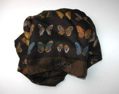 """Vintage Gucci Silk Scarf, Butterflies, Brown, Woman's Accessory, 26"""" x 26"""", circa 60's, Made in Italy, gift idea"""