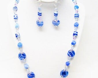 Mixed Blue Swirl Glass Beads Necklace/Earrings Set