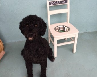 Dog Feeder made from a old child's chair