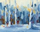 "Original acrylic impressionist landscape painting ""Peace"", 8"" x 8"" x 1 3/8""  acrylic on canvas. Winter Home decor art."