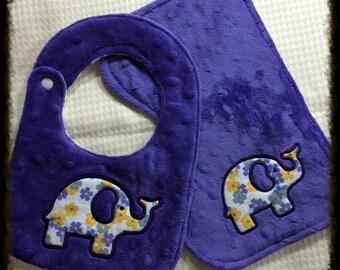 Purple minky burp cloth and bib set.
