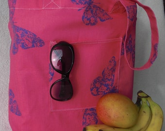 Simple handmade shopping bag - large tote bag - Pink and Purple Butterfly