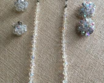 Iridescent Faceted Crystal Bead Necklace Choker & Earrings Set Vintage Crown Jewel Look