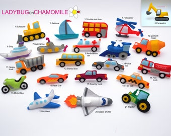 VEHICLES and TRANSPORTATION felt magnets - Price per 1 item- make your own set - Car,Bike,Train,Submarine,Space shuttle,Truck,Ship,Bulldozer