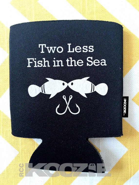 Two less fish in the sea koozie fishing wedding koozie for Two less fish in the sea