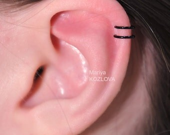 Piercing Imitation The Greatest Black Cartilage Ear Cuff-Position 2/ Ears Nose Two Small Rings/ helix top upper earcuff/ fake false piercing